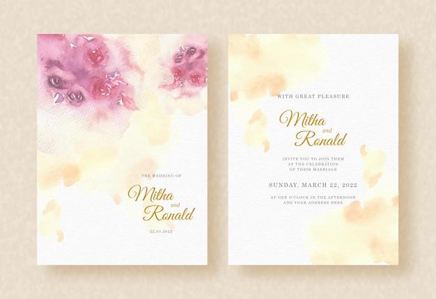 Resumo pintura em aquarela sobre fundo de cartão de convite de casamento