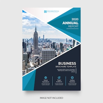 Resumo relatório anual com formas azuis