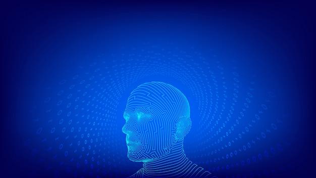 Resumo rosto masculino humano. cabeça humana na interpretação de computador digital de robô. ai. conceito de inteligência artificial.
