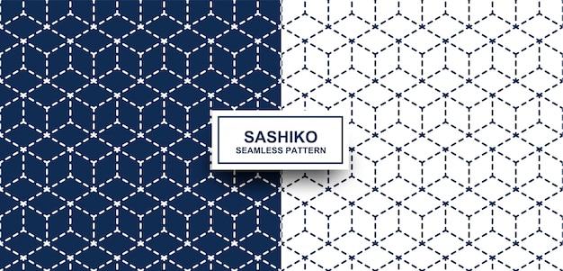 Resumo. sashiko padrão sem emenda. linha índigo e fundo branco.