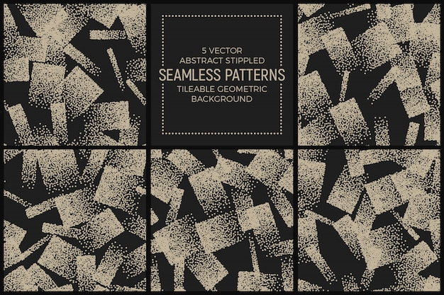Resumo stippled seamless patterns vector set