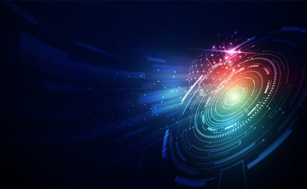 Resumo tecnologia linha triângulo e pontos empresário baixo poli segurar o telefone na mão poligonal futuro moderno wireframe oi oi tecnologia futuro fundo azul. para modelo, design web ou apresentação.