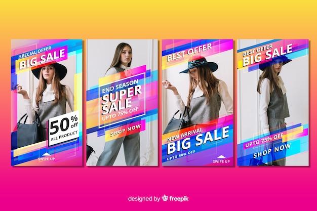 Resumo venda colorida instagram histórias com foto