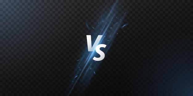 Resumo versus tela. letras vs com raios brilhantes para jogos de esporte, partida, torneio
