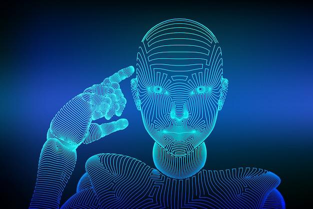 Resumo wireframe feminino cyborg ou robô segura um dedo perto da cabeça e pensa ou calcula usando sua inteligência artificial.