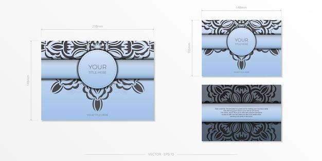 Retangular prepare cartões postais azuis com ornamentos pretos luxuosos. modelo de vetor para impressão de cartão de convite de design com padrões vintage.