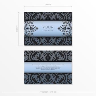 Retangular prepare cartões postais azuis com padrões pretos luxuosos. modelo de cartão de convite para impressão de design com ornamentos vintage.