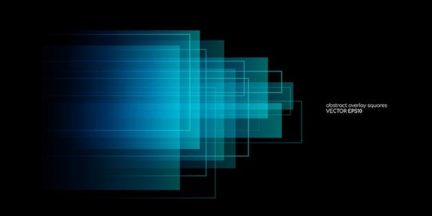 Retângulo abstrato formas sobreposição transparente nas cores azuis e verdes sobre fundo preto.