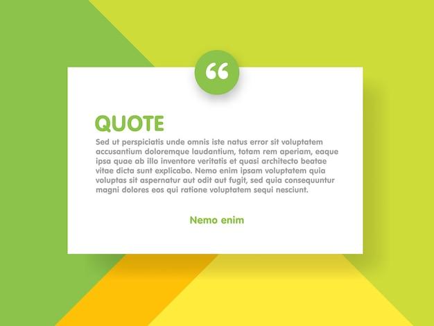 Retângulo de fundo e citação de estilo de design de material com modelo de informações de texto de amostra