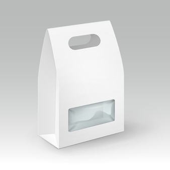 Retângulo de papelão branco em branco retângulo alça lancheira embalagem para sanduíches, alimentos, presentes, outros produtos com janela de plástico close-up isolado no fundo branco