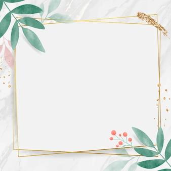Retângulo dourado com moldura de folhas em aquarela