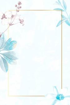 Retângulo dourado com moldura floral