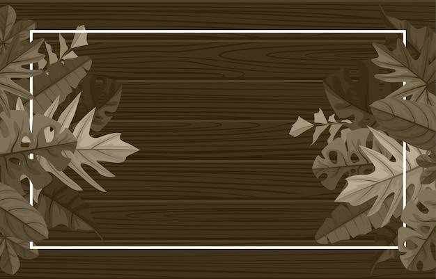 Retângulo madeira planta tropical folha de verão fundo da moldura