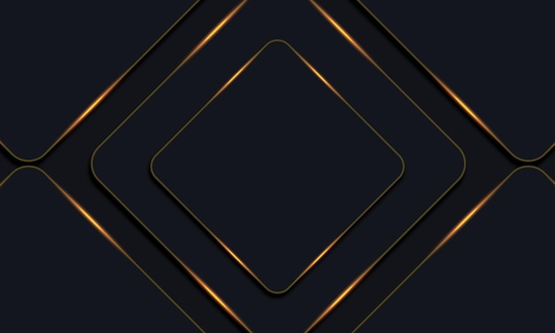 Retângulos arredondados escuros com fundo de linhas douradas. ilustração vetorial.