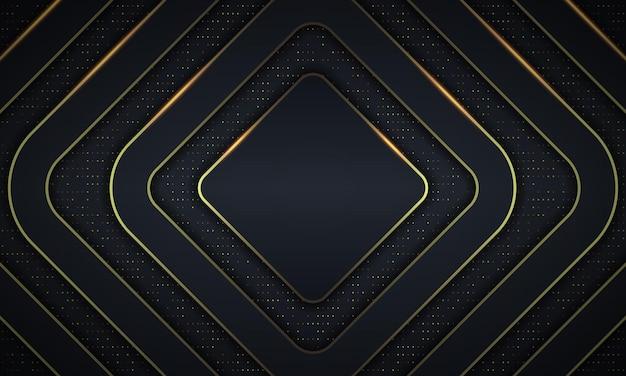 Retângulos arredondados escuros de luxo abstrato com fundo de linhas douradas. ilustração vetorial.