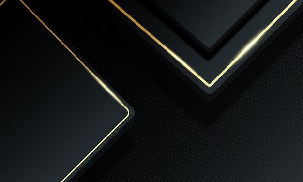 Retângulos de luxo 3d com fundo de linhas douradas. padrão para anúncios, cartaz, banner de livros.