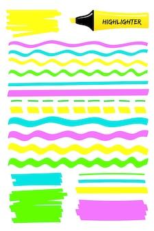 Retângulos e linhas de marcador de destaque colorido