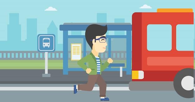 Retardatário homem correndo para o ônibus.