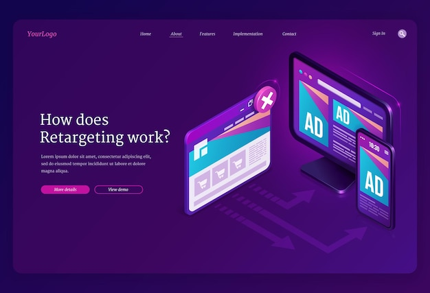 Retargeting ou remarketing ad isometric landing page