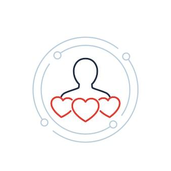 Retenção de clientes, ícone de satisfação do cliente com corações, vetor de linha