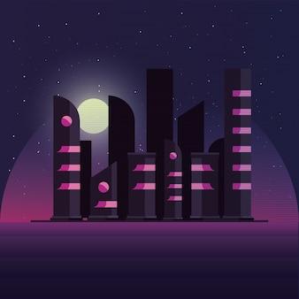 Retípedes com a noite nos prédios da cidade