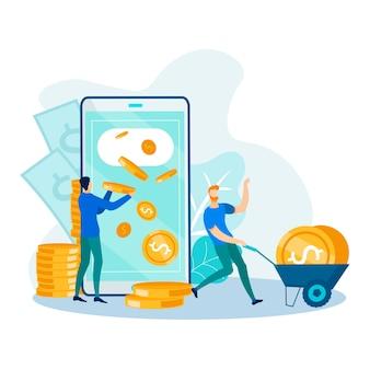Retirada de dinheiro e transferência via aplicativos móveis