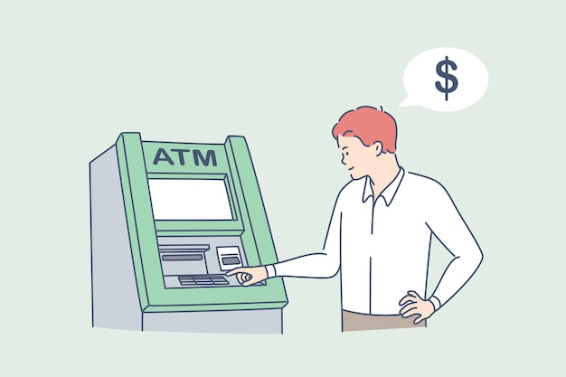 Retirando dinheiro no conceito de atm. jovem em pé, digitando código pin na máquina atm para conseguir dinheiro, ilustração vetorial de dinheiro