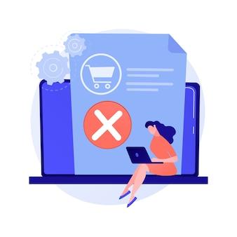 Retirar mercadorias da cesta, recusar-se a comprar, mudar de decisão. exclusão de item, esvaziamento do lixo. aplicativo de compras online, personagem de desenho animado do usuário de laptop.