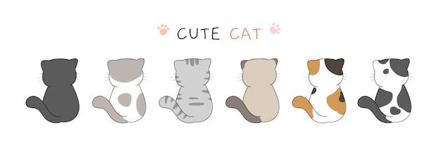 Retire a coleção de gato bonito no estilo branco dos desenhos animados.