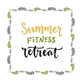 Retiro de fitness de verão. letras vetoriais manuscritas. estilo de vida saudável.