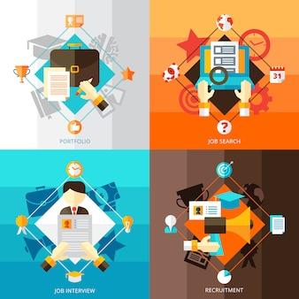 Retomar 2x2 conjunto de conceito plano de entrevistas de pesquisa de emprego de portfólio e composições de recrutamento