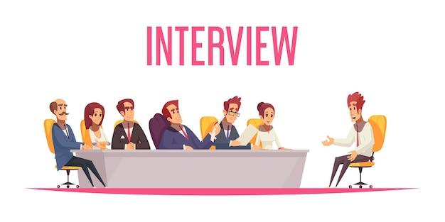 Retomar a composição de recrutamento com personagens humanos de texto e desenho animado do candidato a emprego e dos membros do comitê