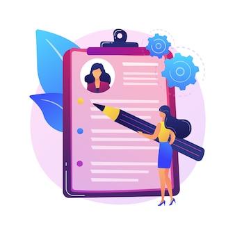Retome a redação da ilustração do conceito abstrato de serviço. serviço de redação, currículo online, ajuda profissional redigindo currículo, carta de apresentação, perfil do candidato, resumo de carreira