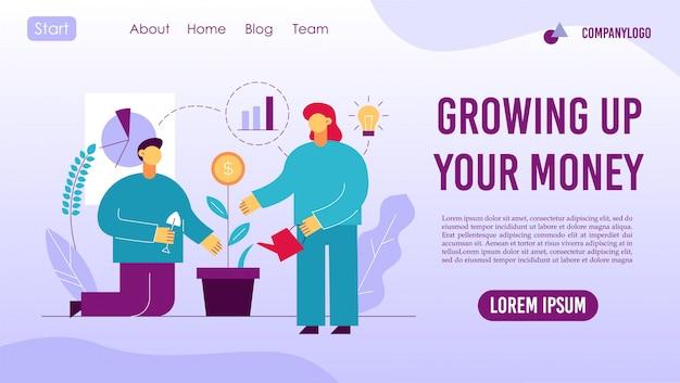 Retornar ao design da página de destino do conceito de investimento