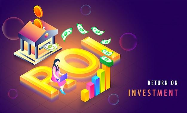 Retorno de texto dourado sobre fundo isométrico de investimento (roi).