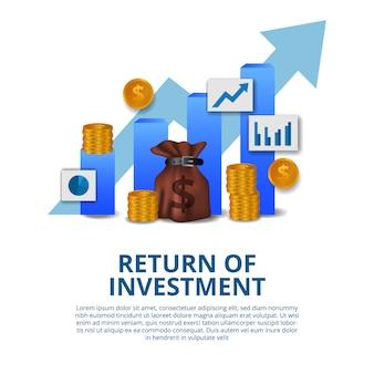 Retorno do conceito de investimento negócios finanças crescimento seta sucesso