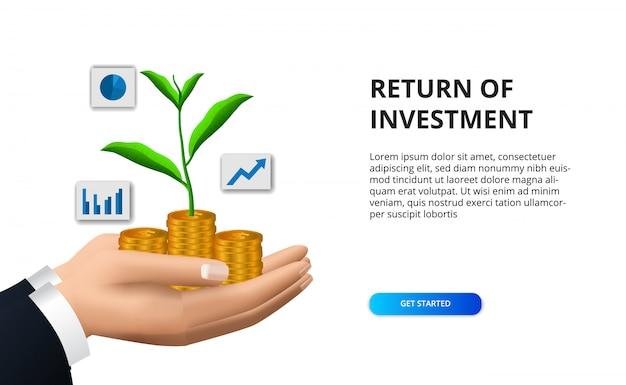 Retorno do investimento roi conceito com ilustração de mão segurando uma moeda de ouro com folhas de crescimento de plantas de árvores