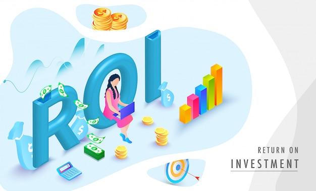 Retorno do investimento (roi) fundo isométrico.