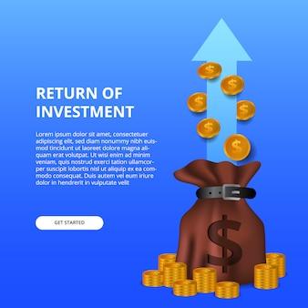 Retorno do investimento roi ilustração conceito com saco de dinheiro e moedas de ouro