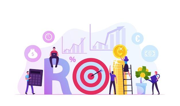 Retorno do investimento, roi, mercado e finanças, análise de negócios e conceito de crescimento. ilustração plana dos desenhos animados