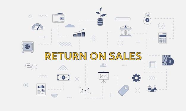 Retorno sobre o conceito de ros de vendas com conjunto de ícones com palavra grande ou texto na ilustração vetorial central