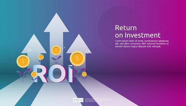 Retorno sobre o investimento, conceito de oportunidade de lucro. setas de crescimento de negócios para o sucesso. texto de roi com sucesso seta gráfico gráfico aumentar e crescer planta de moedas de dólar.