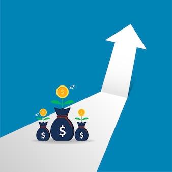 Retorno sobre o investimento da seta de crescimento do negócio para o conceito de sucesso. desempenho financeiro que estende a ilustração vetorial.
