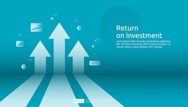 Retorno sobre o investimento roi, conceito de oportunidade de lucro. setas de crescimento de negócios para o sucesso. seta com moedas de planta do dólar, aumento de gráfico e gráfico.