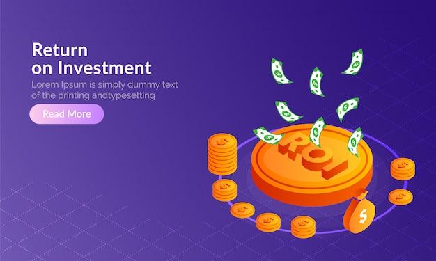 Retorno sobre o investimento (roi) conceito.