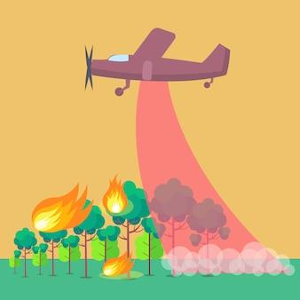 Retratando, avião, pôr, para, fogo floresta, ilustração