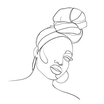 Retrato abstrato de uma jovem mulher africana em estilo moderno minimalista. desenho de linha. - ilustração vetorial