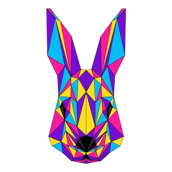 Retrato abstrato do coelho poligonal. cabeça de coelho de baixo poli moderno isolada no branco para cartão, cartaz de clínica veterinária, convite para festa moderna, livro, cartaz, impressão de bolsa, camiseta etc.