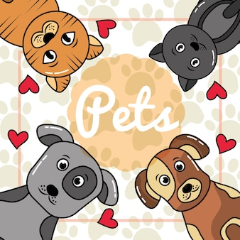 Retrato animal com gatos e cães animais de estimação patas coração cartaz