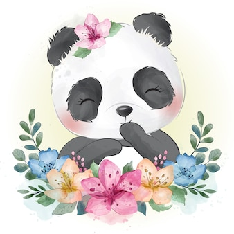 Retrato bonito pequeno panda